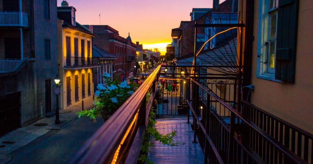 View from a balcony in New Orleans's French Quarter
