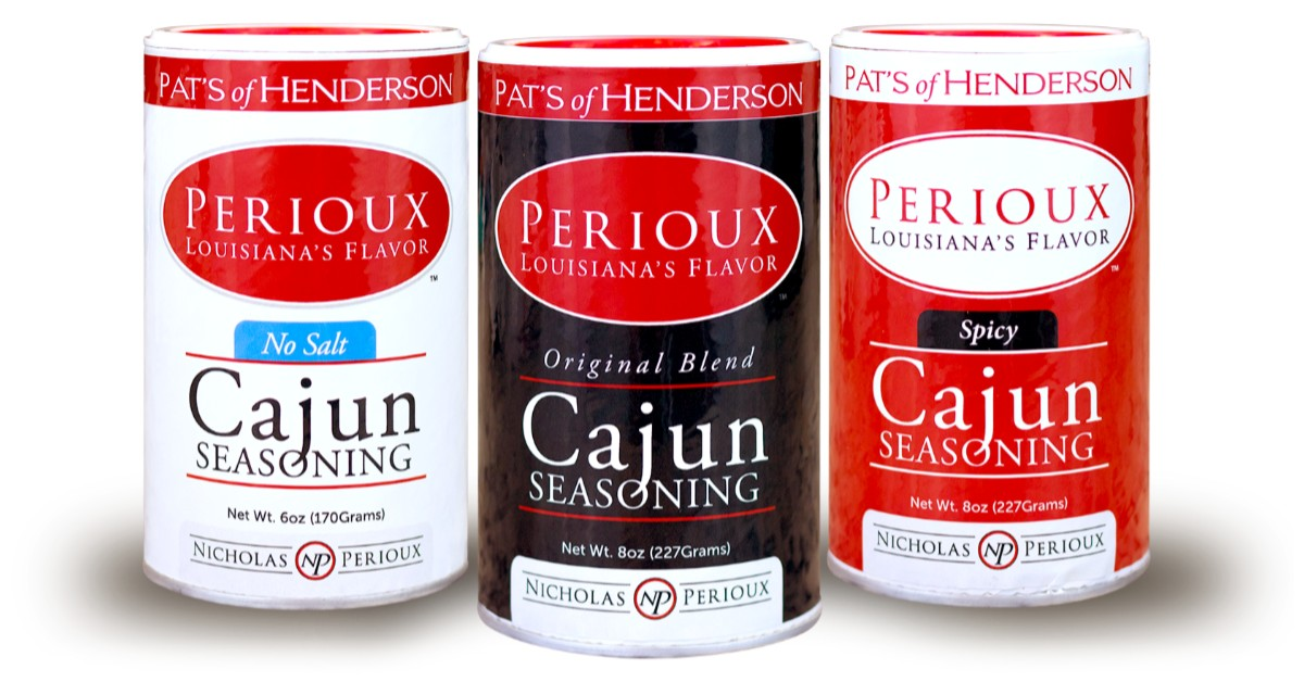 Three containers of Perioux Cajun seasoning from Pat's of Henderson